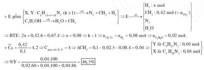 Cho hỗn hợp E gồm ba chất X, Y và ancol propylic. X, Y là hai amin kế tiếp nhau trong cùng dãy đồng đẳng