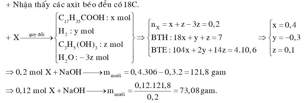 Hỗn hợp X gồm axit oleic và triglixerit Y. Đốt cháy hoàn toàn 0,2 mol X cần vừa đủ