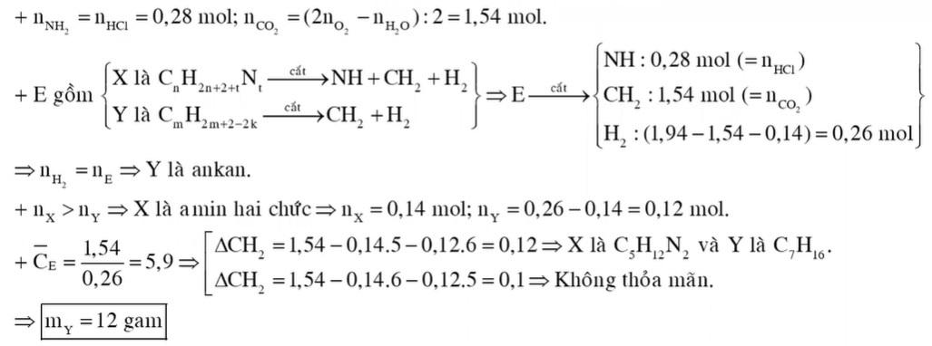 Hỗn hợp E gồm amin X (no, mạch hở) và hiđrocacbon Y (Số mol X lớn hơn số mol Y)