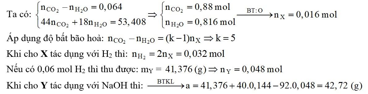 Đốt cháy hoàn toàn 13,728 gam một triglixerit X cần vừa đủ 27,776 lít O2 (đktc) thu được số mol CO2 và số mol H2O hơn kém nhau