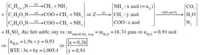 Hỗn hợp X gồm metylamin và trimetylamin. Hỗn hợp Y gồm glyxin và axit glutamic. Đốt cháy hết a mol