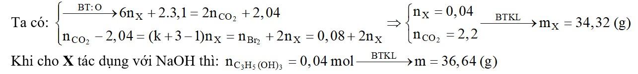 Đốt cháy hoàn toàn m gam triglixerit X (trung hòa) cần dùng 69,44 lít khí O2 (đktc) thu được khí CO2 và