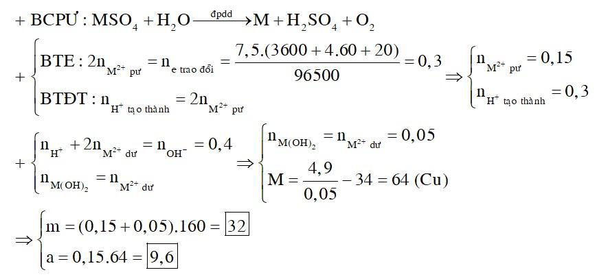 Hòa tan hoàn toàn m gam MSO4 (M là kim loại) vào nước thu được dung dịch X. Điện phân dung dịch X (điện cực trơ, hiệu suất 100%)