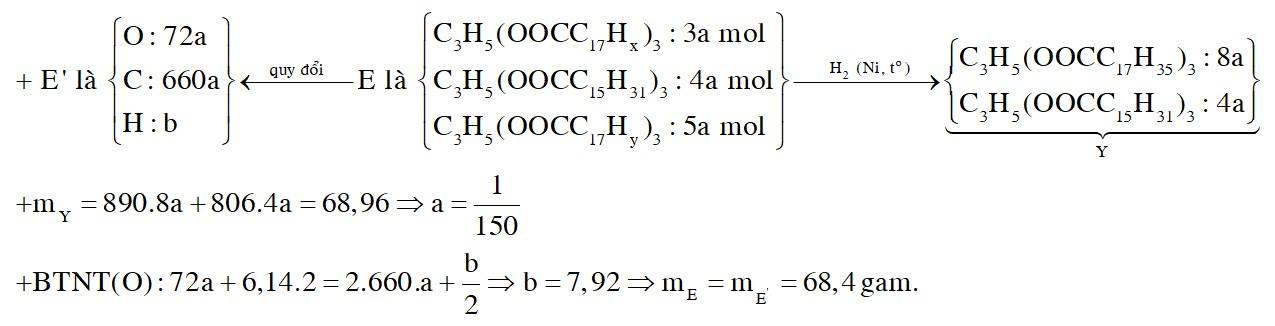 Xà phòng hóa hoàn toàn m gam hỗn hợp E gồm các triglixerit bằng dung dịch NaOH, thu được glixerol và hỗn hợp X gồm ba muối