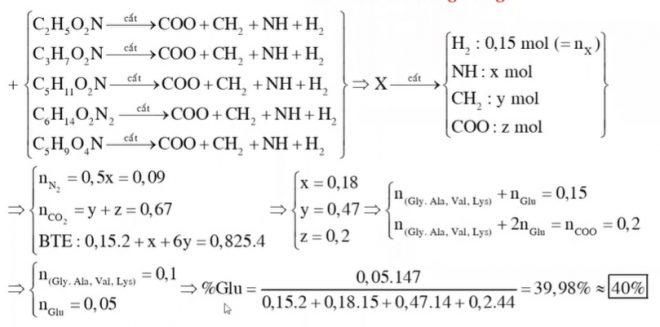 Hỗn hợp X gồm Glu, Lys, Val, Ala và Gly. Đốt cháy hoàn toàn 0,15 mol hỗn hợp X