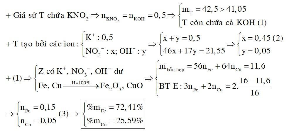 Hòa tan 11,6 gam hỗn hợp M gồm Fe và Cu vào 87,5 gam dung dịch HNO3 50,4%, sau khi kim loại tan hết thu được dung dịch X và V lít
