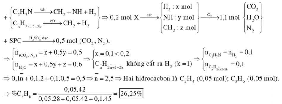 Hỗn hợp khí X gồm etylamin và hai hiđrocacbon là đồng đẳng liên tiếp. Đốt cháy hoàn toàn