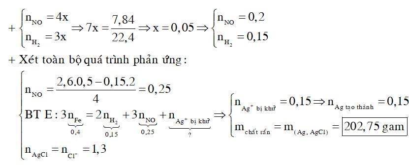 Hòa tan hoàn toàn 22,4 gam Fe trong 500 ml dung dịch hỗn hợp NaNO3 và HCl 2,6M, đến phản ứng hoàn toàn thu được dung dịch X