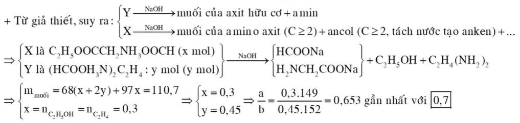 Cho hỗn hợp gồm a gam X (C5H11O4N) và b gam Y (C4H12O4N2) (là muối của axit hữu cơ) tác dụng vừa đủ với dung dịch NaOH