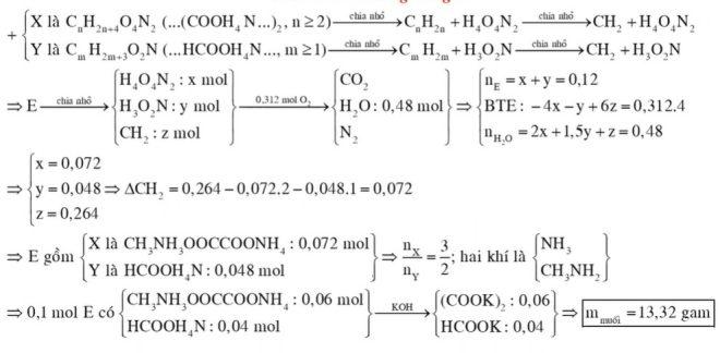 Hỗn hợp E gồm chất X (CnH2n+4O4N2, là muối của axit cacboxylic hai chức) và chất hữu cơ Y (CmH2m+3O2N