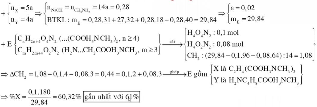 Chất X (CnH2n+4O4N2) là muối amoni của axit cacboxylic đa chức, chất Y (CmH2m+4O2N2) là muối amoni