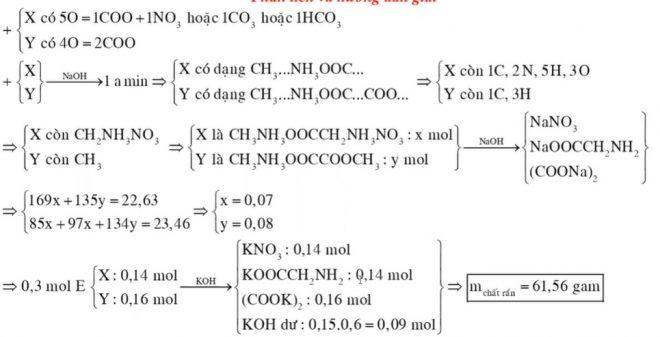 Cho hỗn hợp E gồm hai chất hữu cơ X (C3H11N3O5) và Y (C4H9NO4, tạo bởi axit cacboxylic đa chức) đều mạch hở