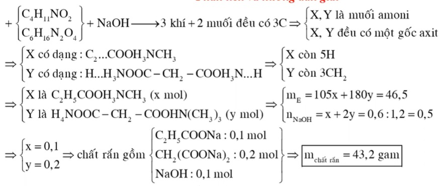 Hỗn hợp E gồm hai chất hữu cơ mạch hở X (C4H11NO2) và Y (C6H16N2O4). Đun nóng 46,5 gam E