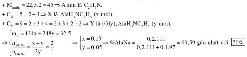 Chất X (C5H14O2N2) là muối amoni của amino axit, chất Y (C9H20O4N4, mạch hở) là muối amoni của tripeptit