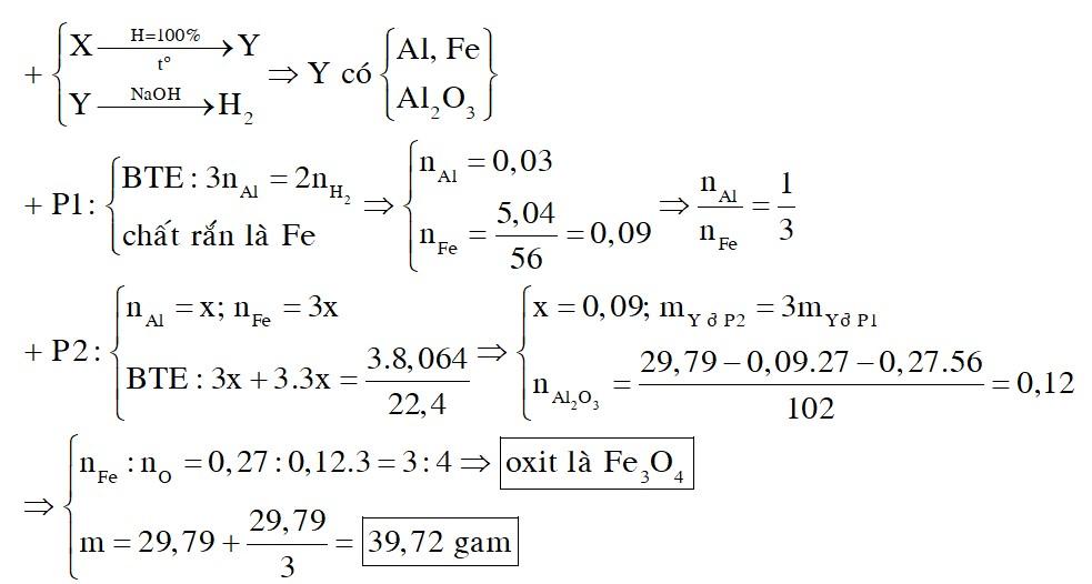 Hỗn hợp X gồm Al, FexOy. Tiến hành phản ứng nhiệt nhôm hoàn toàn m gam hỗn hợp X trong điều kiện không có không khí thu được hỗn hợp Y