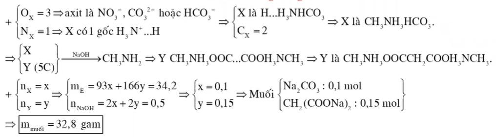 Hỗn hợp E gồm chất X (C2H7O3N) và chất Y (C5H14O4N2); trong đó X là muối của axit vô cơ và Y là