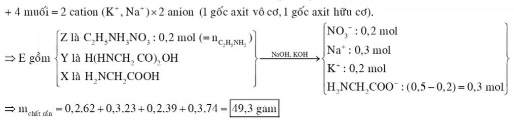 Hỗn hợp E gồm amino axit X, đipeptit Y (C4H8O3N2) và muối của axit vô cơ Z (C2H8O3N2)