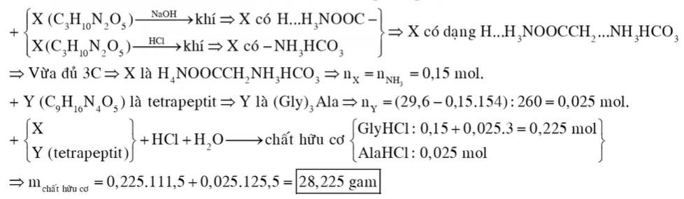 Hỗn hợp E gồm chất X (C3H10N2O5) và chất Y (C9H16N4O5), trong đó X tác dụng với HCl hay NaOH
