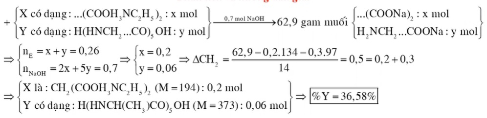 Chất X (CnH2n+4O4N2) là muối amoni của axit cacboxylic đa chức, chất Y (CmH2m-3O6N5) là pentapeptit