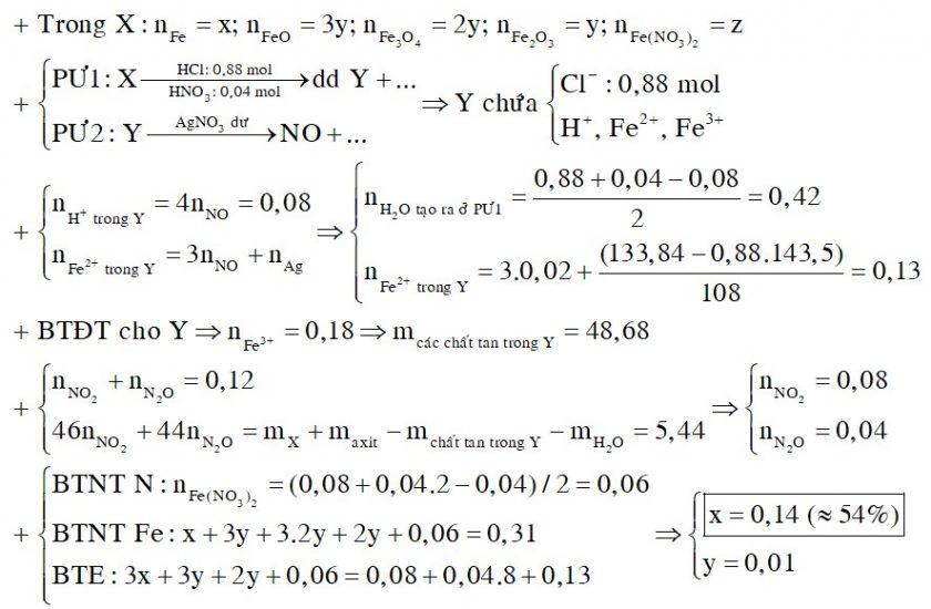 Cho 27,04 gam hỗn hợp rắn X gồm Fe, FeO, Fe3O4, Fe2O3 và Fe(NO3)2 vào dung dịch chứa 0,88 mol HCl và 0,04 mol HNO3