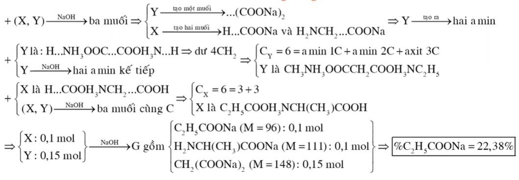 Hỗn hợp E gồm 0,1 mol X (C6H13O4N) và 0,15 mol Y (C6H16O4N2, là muối của axit cacboxylic hai chức)