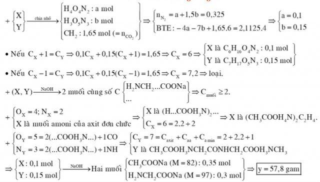 Hỗn hợp E gồm chất X (CnH2n+4O4N2, là muối amoni của axit cacboxylic đơn chức) và chất Y (CmH2m+3O5N3)