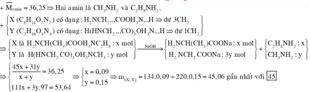Chất X (C5H14O2N2) là muối amoni của một α-amino axit; chất Y (C7H16O4N4, mạch hở) là muối amoni của tripeptit