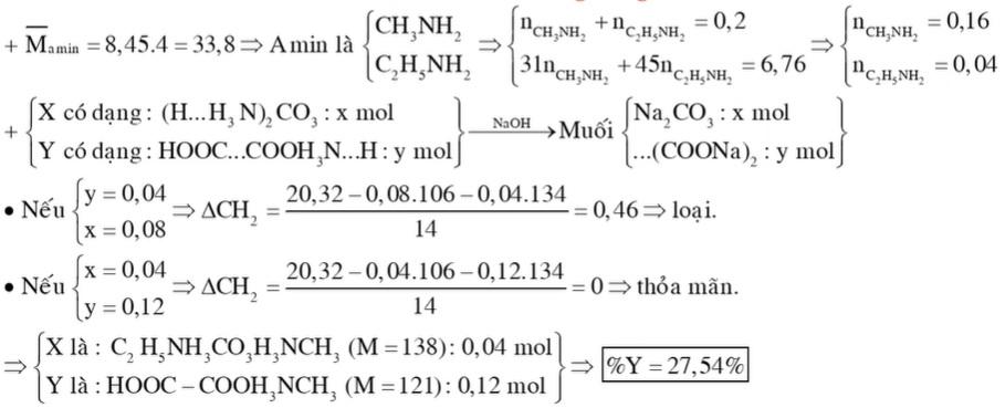 Cho hỗn hợp E chứa hai chất hữu cơ mạch hở X (CnH2n+6O3N2) và Y (CmH2m+1O4N) tác dụng với dung dịch NaOH