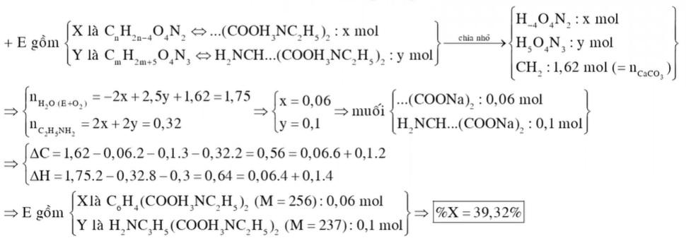 Hỗn hợp E gồm chất X (CnH2n-4O4N2) là muối amoni của axit cacboxylic đa chức và chất Y (CmH2m+5O4N3) mạch hở là muối amoni của một amino axit