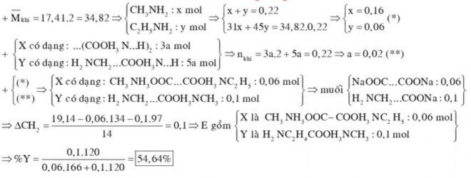 Chất X (CxHyO4N2) là muối amoni của axit cacboxylic đa chức, chất Y (CmHnO2N2) là muối amoni của một amino axit