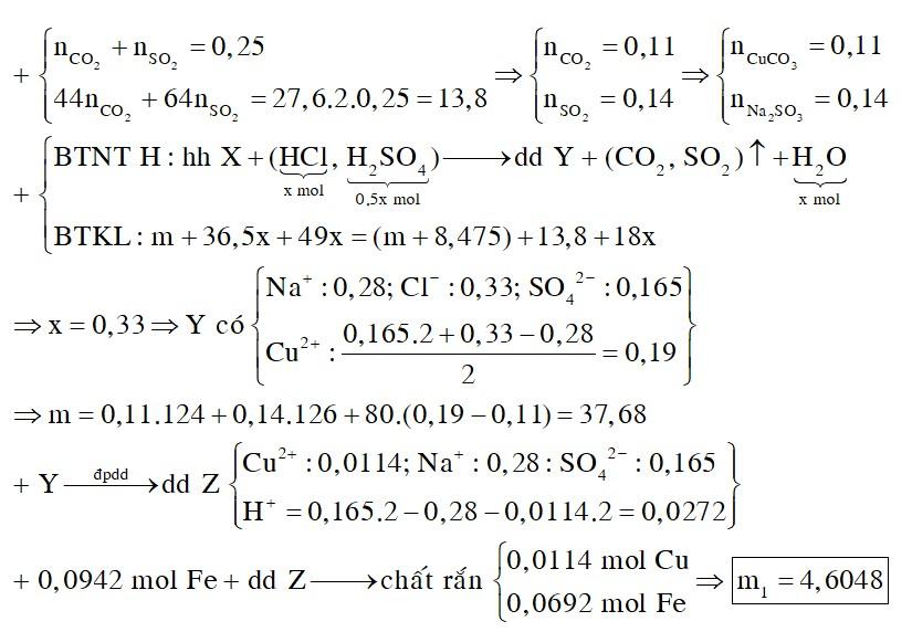 Hỗn hợp X gồm Na2SO3, CuO, CuCO3. Hòa tan m gam hỗn hợp X trong dung dịch hỗn hợp HCl 1M và H2SO4 0,5M vừa đủ