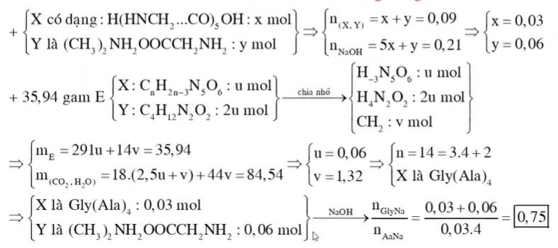 Hỗn hợp E gồm peptit X mạch hở có công thức CxHyN5O6 và hợp chất Y có công thức phân tử là C4H12N2O2