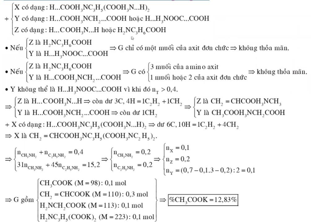 Hỗn hợp E gồm X (C12H27O6N3, là muối của axit glutamic), Y (C4H9O4N) và Z (C4H9O2N) đều mạch hở