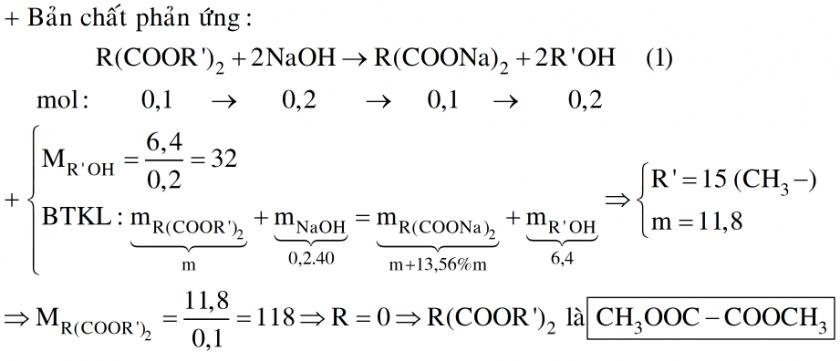 Cho 0,1 mol este tạo bởi axit 2 lần axit hai chức và ancol một ancol đơn chức tác dụng hoàn toàn với dung dịch NaOH, thu được 6,4 gam ancol