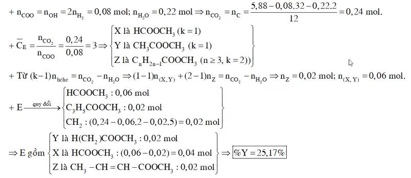 Hỗn hợp E gồm 3 este đơn chức X Y Z
