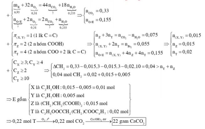 X Y MX MY là hai chất hữu cơ kế tiếp thuộc dãy đồng đẳng ancol anlylic Z là axit no hai chức mạch hở có số cacbon lớn hơn 2 T là este tạo bởi X Y Z