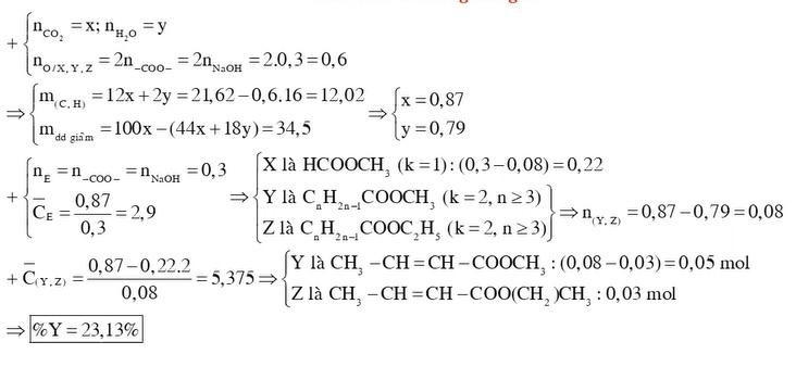 X Y Z là 3 este đều đơn chức mạch hở trong đó Y và Z không no chứa một liên kết C C và có đồng phân hình học