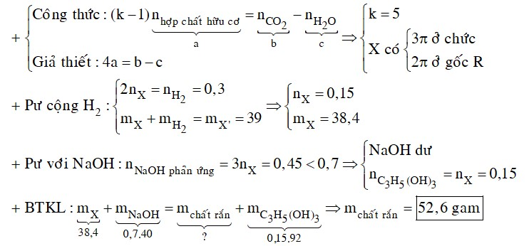 Đốt a mol X là trieste của glixerol và axit đơn chức mạch hở thu được b mol CO2 và c mol H2O biết b – c = 4a.