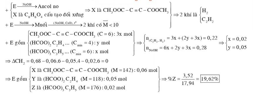 Hỗn hợp E gồm ba hợp chất hữu cơ chỉ chứa chức este mạch hở X là C6H6O4 có cấu tạo đối xứng Y là CnH2n2O4 và Z là CmH2m4O6