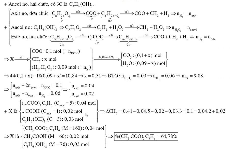 X là hỗn hợp chứa một axit đơn chức một ancol hai chức và một este hai chức đều no mạch hở Đốt cháy hoàn toàn 009 mol X