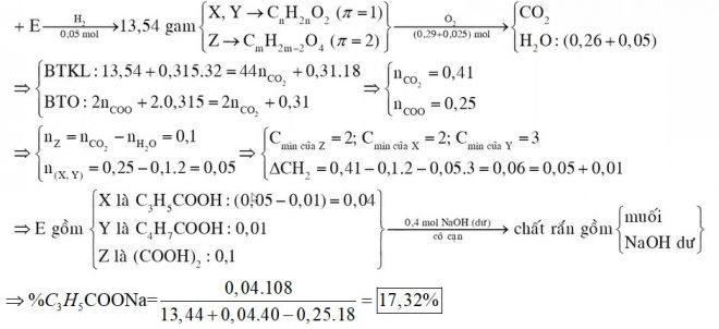 X Y là hai hợp chất hữu cơ kế tiếp thuộc dãy đồng đẳng của axit acrylic Z là axit hai chức mạch hở Đốt cháy 1344 gam hỗn hợp E