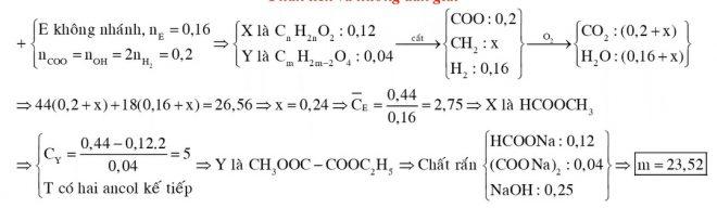 Đốt cháy 016 mol hỗn hợp E chứa hai este X Y đều no mạch hở và không phân nhánh thu được CO2 và H2O có tổng khối lượng 2656 gam