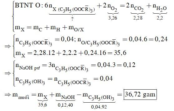 Đốt cháy hoàn toàn a gam triglixerit X cần vừa đủ 3,26 mol O2, thu được 2,28 mol CO2 và 39,6 gam H2O
