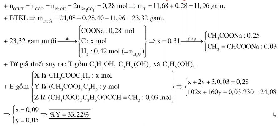 X là este no đơn chức Y là este no hai chức Z là este không no ba chức chứa một liên kết CC X Y Z đều mạch hở Đun nóng 2408 gam hỗn hợp E
