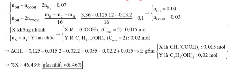 Hỗn hợp E gồm axit cacboxylic X có mạch cacbon không phân nhánh và ancol Y hai chức mạch hở trong đó số mol X nhỏ hơn số mol Y