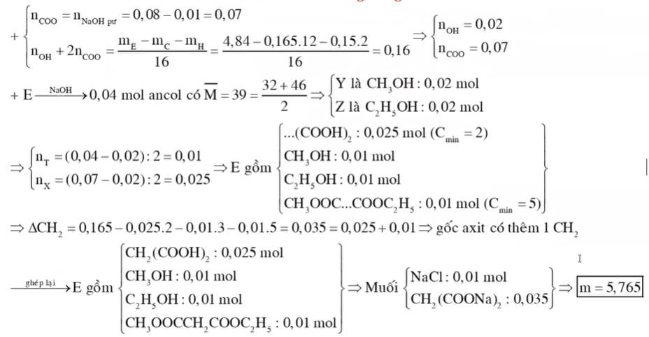 Hỗn hợp E gồm axit cacboxylic X no hai chức mạch hở hai ancol Y Z no đơn chức kế tiếp nhau trong dãy đồng đẳng