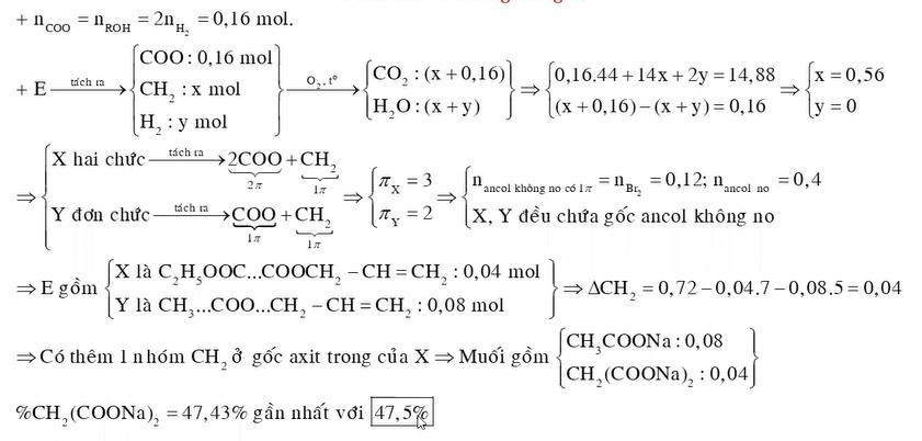 X là este hai chức, Y là este đơn chức (đều mạch hở). Đốt x mol X hoặc y mol Y đều thu được số mol CO2 lớn hơn số mol H2O là 0,08 mol