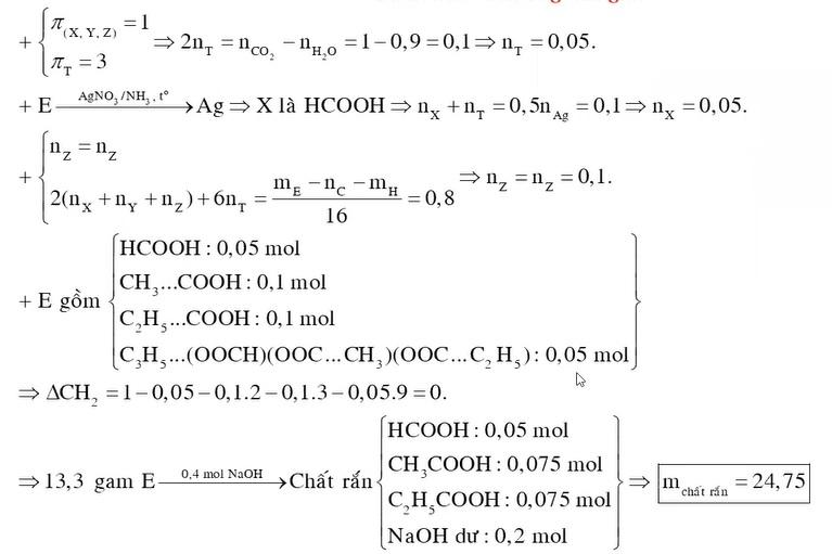 X, Y, Z là ba axit cacboxylic đơn chức cùng dãy đồng đẳng (MX < MY < MZ ), T là este tạo bởi X, Y, Z với một ancol no, ba chức, mạch hở