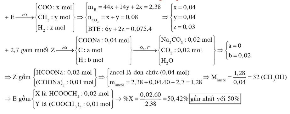 Đốt cháy hoàn toàn 2,38 gam hỗn hợp E gồm hai este mạch hở X và Y