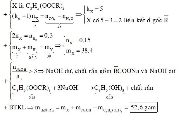 Đốt cháy hoàn toàn a mol X (là trieste của glixerol với các axit đơn chức, mạch hở), thu được b mol CO2 và c mol H2O